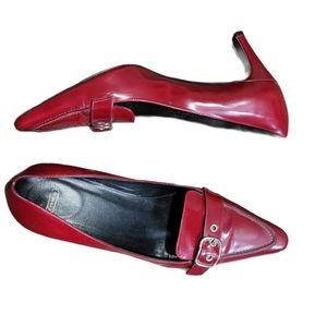 Coach Dark Red Leather Shoes with Buckle Sz 8